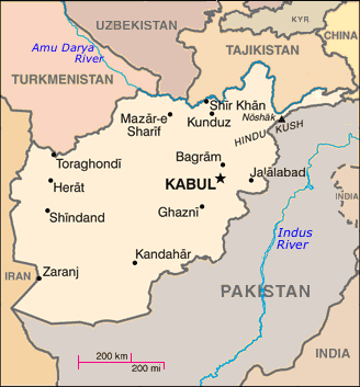 Map showing Afghanistan (center), its capital Kabul, and neighboring countries, including Iran and Chinaxxx