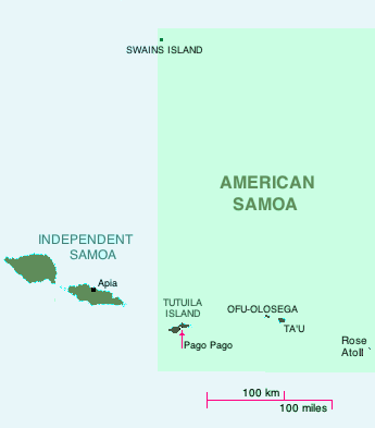 American Samoa in the South Pacific, including location of Swains, Ta'u amd Of-Olosega islands