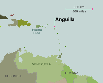 Map showing Anguilla's place in the Caribbean