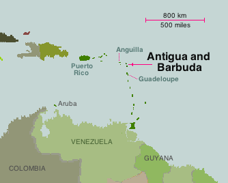 Map showing the place of Antigua and Barbuda in the Caribean