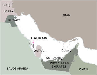 Bahrain and neighboring states in the Persian Gulf region