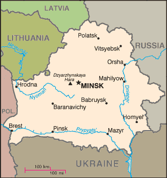 Map of Belarus amid neighboring states