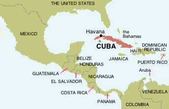 Cuba placed in the Carribean Sea