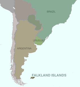 Location of the Falkland Islands in the South Atlantic Ocean