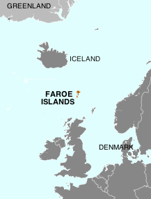 Faore Islands located in the North Atlantic Oceaon between Britain and Iceland