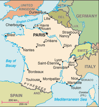 Map of France, amid its neighboring states