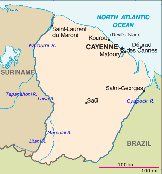 Map of French Guiana