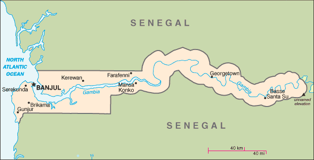 Map of the Republic of Gambia
