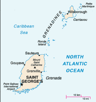Map of the island of Grenada