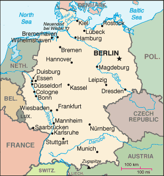 Germany, it capital Berlin, and neighboring countries