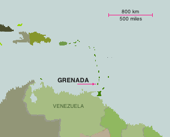 Map of Grenada placed in the Caribbean Sea