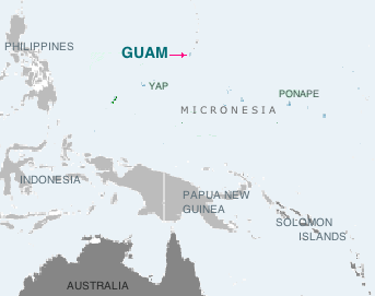 Location of the island of Guam