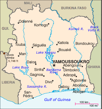 Map of the Ivory Coast (Cote d'Ivoire)