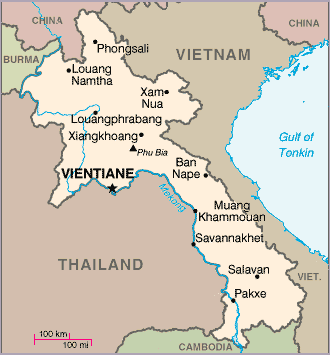 Map of Laos amid neighboring countries