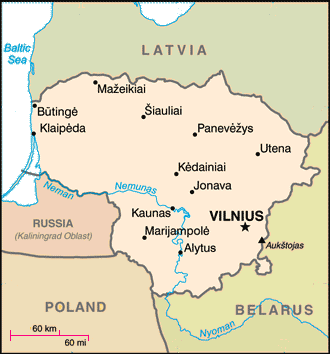 map of Lithuania amid neighboring countries