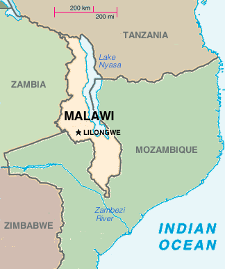 Malawi placed on a map with its neighbors