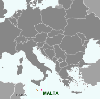 Malta located on a map of Europe and North Africa