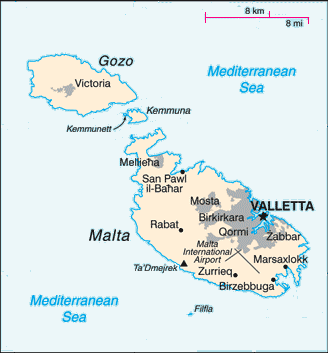 Small and simple map of the Republic of Malta