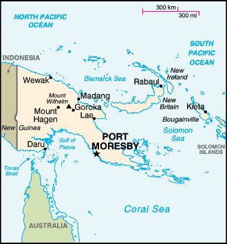 Map of Papua New Guinea and surrounding states in the Pacific south of the equator