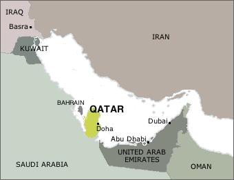 map of Qatar and neighboring states of the Gulf region