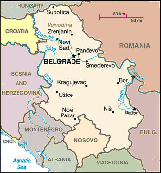 map of Serbia amid neighboring countries