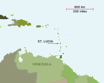 Location of the island St. Lucia