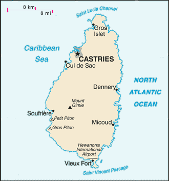 Map of the island St. Lucia