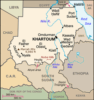 Map of the Republic of Sudan