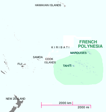 Map of Oceania with French Polynesia highlighted.