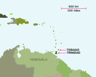 Map locatons of Trinidad and Tobago