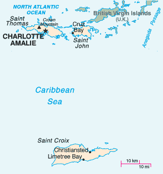 U.S. Virgin Islands, Saint Thomas, Saint John and Saint Croix, in the Caribbean Sea
