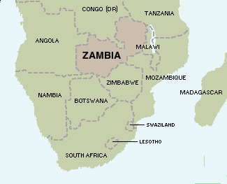 Zambia's location among other states in the south of Africa
